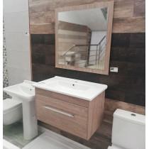 Meuble salle de bain Hawai 80 Chêne + Miroir - Sanimeuble