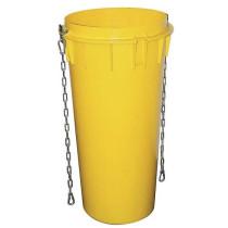 Goulotte à gravats jaune avec 2 chaines